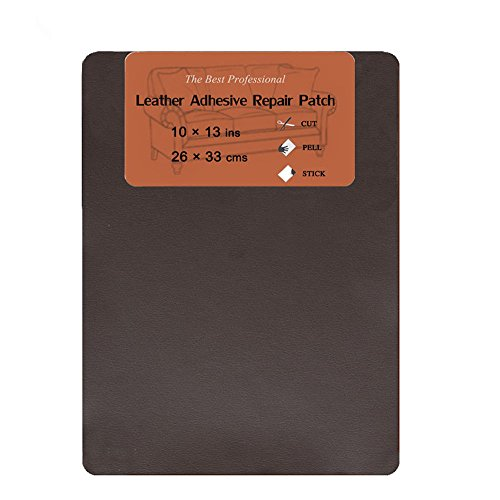 - Leather Repair Patch, First-aid Leather & Vinyl Adhesive Repair Patch for Sofas Car Seats, Handbags Jackets, Plain 10-inch by 13-inch, Dark Brown