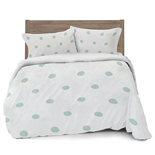 Seafoam Green Polka Dot Duvet Cover Full/Queen Size Bedding, Soft and Wrinkle Free, White and Mint Sea Mint