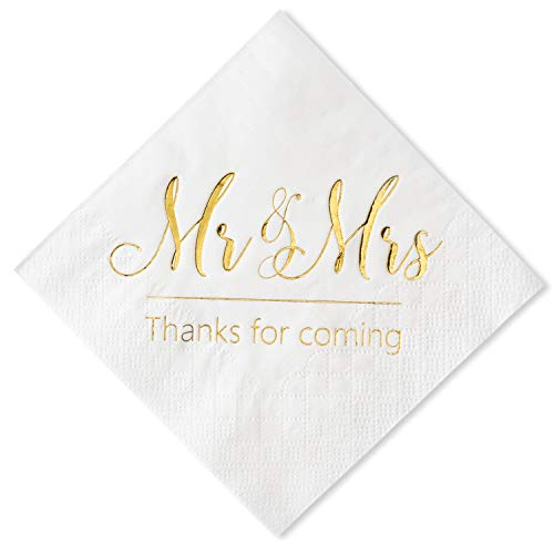 Crisky Wedding Napkins Mr and Mrs Gold Cocktail Beverage Dessert Napkins for Wedding Shower Engagement Party Decorations, Wedding Cake Table Decor Supplies. 100 Pcs, 3-Ply
