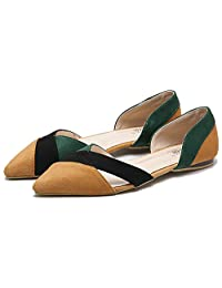 QZUnique Women's Summer Closed Pointy Toe Cut-out Tone Suede Flat Slip On Shoes