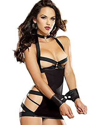 FasiCat Women Lingerie Bondage Strapped Faux Leather Teddy Bodydoll With G-thong