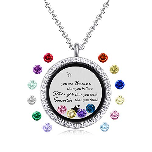Feilaiger Inspirational Words Necklace, Greetings Words Necklace, Graduation Gifts Floating Charm Living Memory Locket Pendant Necklace with Birthstone (You are Braver)