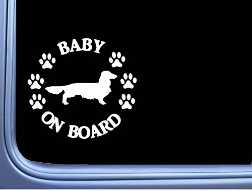 """Baby on Board Dachshund Longhair L512 6"""" Sticker dog for sale  Delivered anywhere in Canada"""