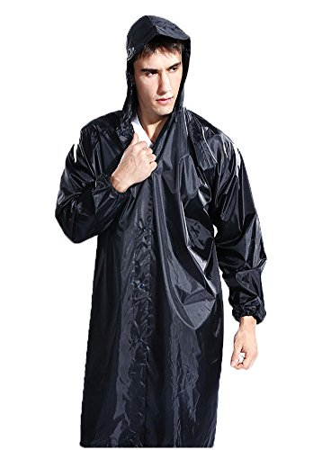 Adult Portable Lightweight Fashion Rain Coat For Men Workwear Rain Coat Easy Carry Wind Rain Jacket Poncho Coat ,Black one Size