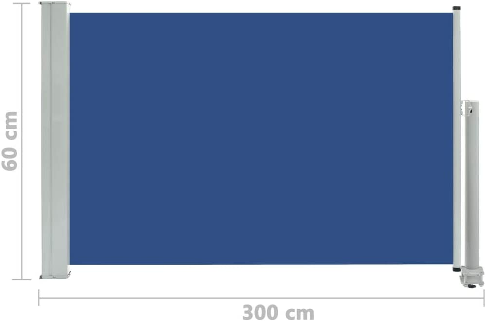 vidaXL Patio Retractable Side Awning Privacy Garden Screen Outdoor Sun Shade Wind Scree for Lawn Backyard Retractable Awning 140x300cm Blue