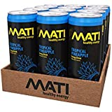 MATI | Natural Healthy Energy Drink | 90 Calorie Option | Tropical Pineapple Flavor | 12 Pack
