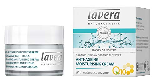 lavera Anti-Aging Moisturizing Cream with innovative natural composition of coenzyme Q10, Organic Jojoba Oil & Aloe Vera to actively fight wrinkles, fine lines & signs of skin aging - 1.7 Oz