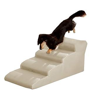 Escalera de Mascota Escaleras De Rampa para Mascotas para Perros Grandes Y Medianos para Camas Altas Y Sofás Altos, PU A Prueba De Agua, Extraíbles, ...
