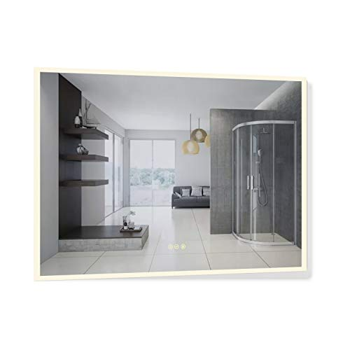 B&C 48x36 inch Super Slim LED Lighted Bathroom Mirror with CRI>90 Multiple Color Vertical or Horizontal Defogger Dimmable Touch Switch with Memory Wall Swtich Ready