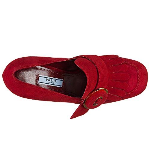 Femme Prada Talon Chaussures en Rouge à Escarpins Daim zw8AT