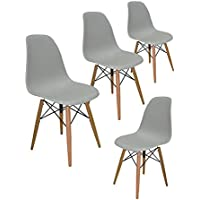 Liya Eames (Gri) Ahşap Ayaklı Plastik Sandalye (4'lü Set) - BEDAVA KARGO