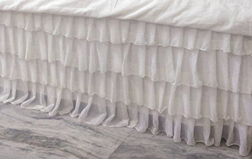 White Chiffon Layered Bed Skirt Any Size Any Size - Detachable option