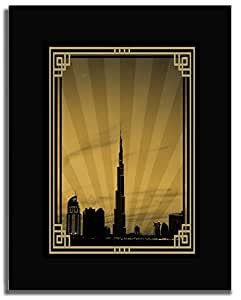 Dubai Skyline Down Town - Sepia With Gold Border No Text F04-m (a5) - Framed