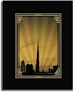Dubai Skyline Down Town - Sepia With Gold Border No Text F04-m (a5) - Framed