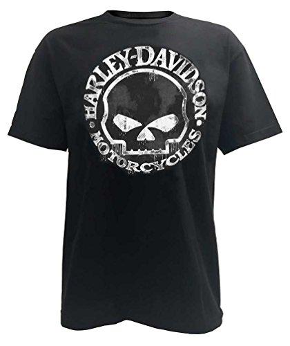 HARLEY-DAVIDSON Mens T-Shirt, Hand Made Willie G Skull Distressed 30294030 (2XL) Black