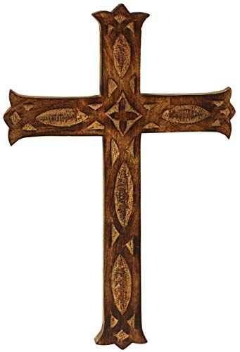 Crafkart 16x10 Inch Wood Wall Mounted Holy Jesus Cross - Wooden Carved Wall Cross - Ideal Gift or Decoration for Home, Weddings, Party, Spa, Meditation, Home Office, Spa, Dorm -