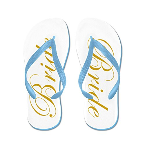 Cafepress Bruid In Gouden Script Bruiloft - Flip Flops, Grappige String Sandalen, Strand Sandalen Caribbean Blue
