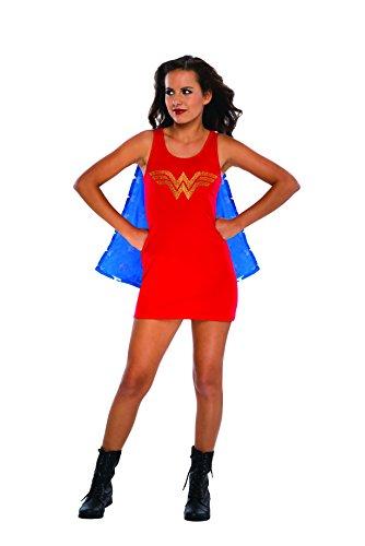 Rubie's DC Comics Justice League Superhero Style Teen Dress with Cape Rhinestone Wonder Woman, Red, Medium Costume ()