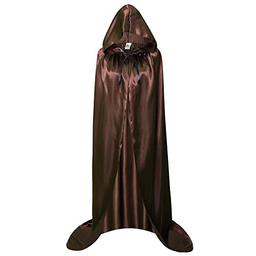 makroyl Adult Full Length Hooded Cape Christmas Costume Cloak Halloween Party Cape (XL, Brown) -