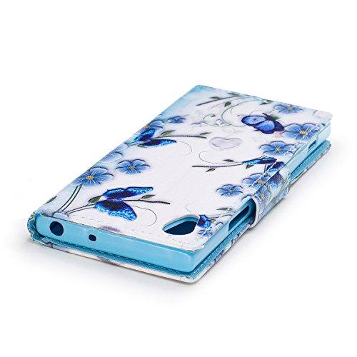 Sony Xperia XA1 Hülle, Chreey PU Leder Schutzhülle mit Feder Traumfänger Muster Bumper Flip Wallet Case Handyhülle Schmetterling