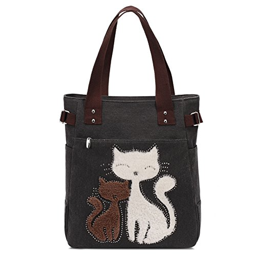 - Women Canvas Handbag Kaukko Shoulder Bag Cat Big Tote Bag Black