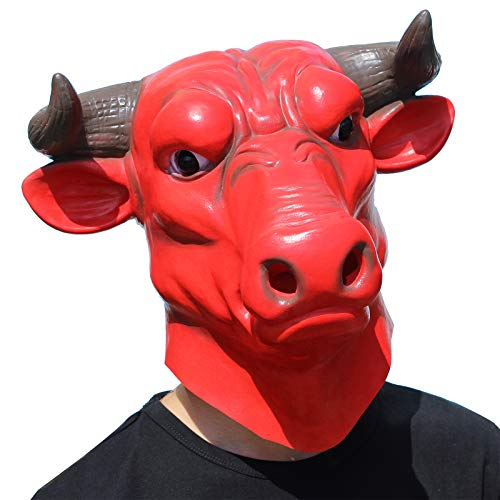 CreepyParty Deluxe Halloween Costume Party Latex Bull Head Mask(OX Head mask) Red