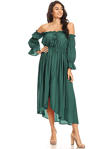 Anna-Kaci Womens Casual Boho Long Sleeve Off Shoulder Renaissance Peasant Dress, Green, X-Large ()