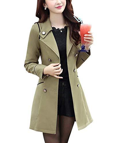Manches Branch Poches Slim Fit Parker Avant Vent Costume Femme Longues Revers Double Manteaux Hiver Boutonnage Coupe wqPx1xYZ