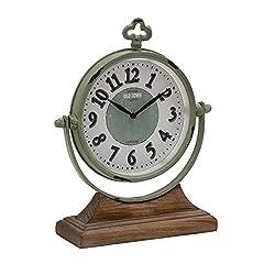 Plutus Brands Amazing Styled Metal Wood Table Clock