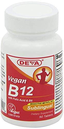 Deva, Vegan, B12, Sublingual, 4Pack (90 Tablets) Water-Soluble Vitamin