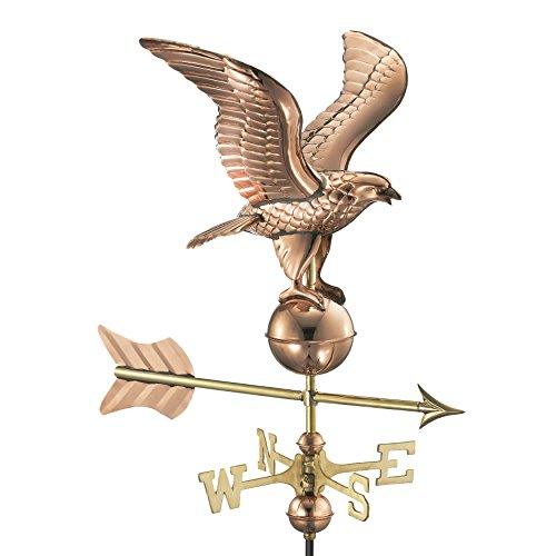(Good Directions 8815PR Eagle Cottage Weathervane, Polished Copper with Roof Mount)