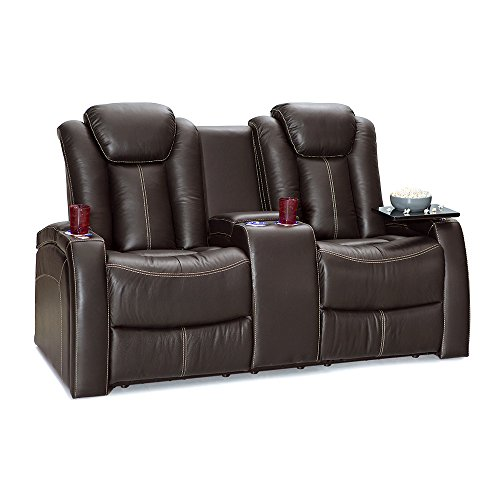 Seatcraft Republic Leather Home Theater Seating Power Recline - (Loveseat w/ Center Console, Brown)