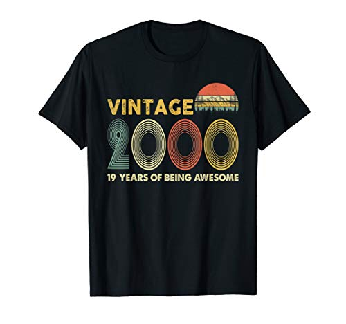 Retro Vintage 2000 T-Shirt 19th Birthday Gifts 19 Years Old