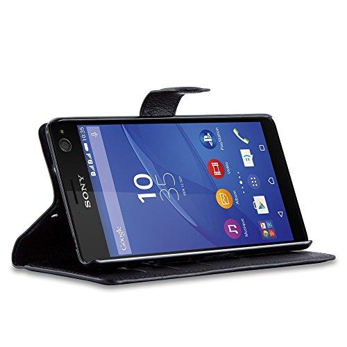Cadorabo - Funda Sony Xperia C4 Book Style de Cuero Sintético en Diseño Libro - Etui Case Cover Carcasa Caja Protección (con función de suporte y tarjetero) en NEGRO-FANTASMA