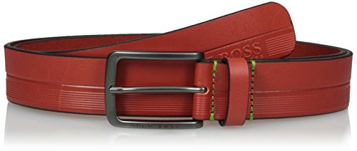 Boss Green Men's Timothy Logo Embossed Leather Belt, medium red, (Boss Leather)