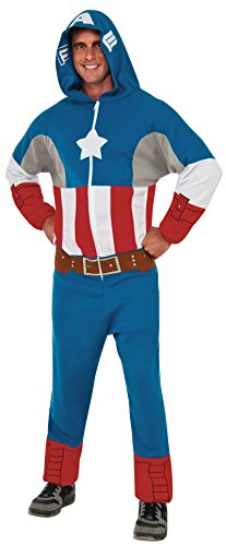 Rubie's Costume Co. Men's Marvel Universe Captain America One Piece Hooded Jumpsuit, Multi, Standard (Marvel Jumpsuit)