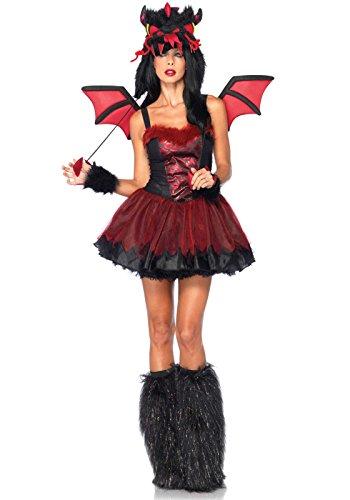 Leg Avenue Costumes 4Pc.Demon Petticoat Dress Velcro Wings Arm Piece Dragon Hood, Black, X-Small (Sexy Demon Costume)