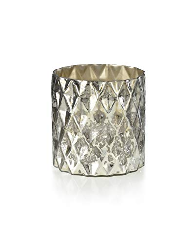 Serene Spaces Living Silver Diamond Mercury Cylinder, Size: 5