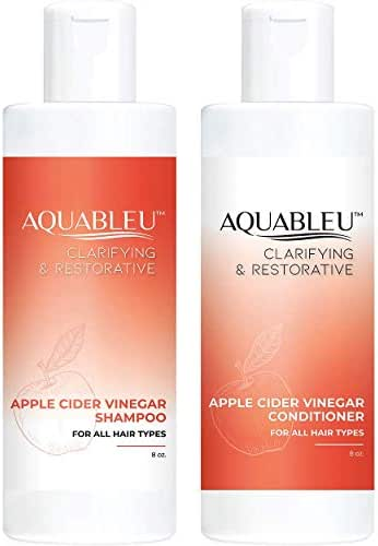 Aquableu Natural Apple Cider Vinegar Shampoo & Conditioner - Clarifying & Restorative - Anti Frizz - Keratin - For Hair loss - Sulfate & Paraben Free - For color-treated hair - For Men & Women (8oz)