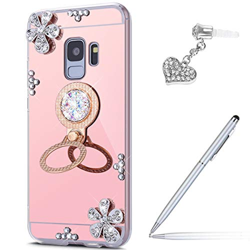 Price comparison product image ikasus Case for Galaxy S9 Diamond Case, Crystal Inlaid diamond Flowers Rhinestone Diamond Glitter Bling Mirror Back TPU Case & Ring Stand + Touch Pen Dust Plug for Galaxy S9 Mirror Case, Rose Gold