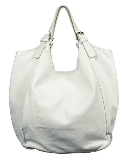 Schöne praktische Leder Weiße Handtasche aus Leder Adelaide Bianca über die Schulter