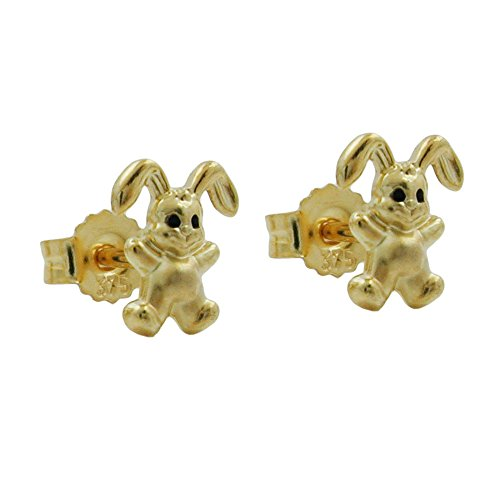 Earrings, kleiner Hase, 9Kt GOLD