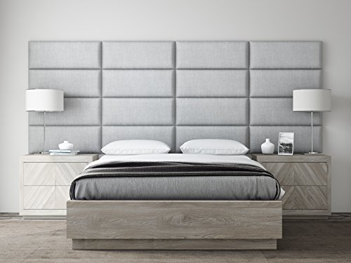 Mist Panel (VANT Upholstered Headboards - Accent Wall Panels - Packs Of 4 - Textured Cotton Weave Gray Mist - 30
