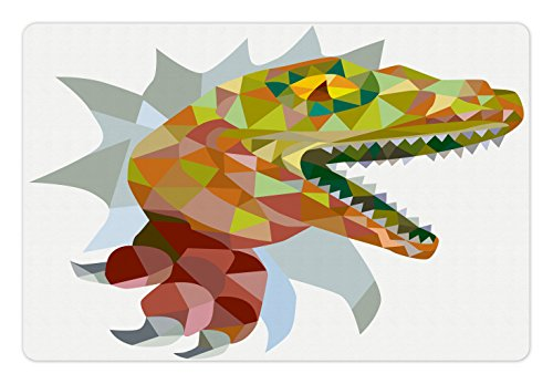 Food and Water by Ambesonne, Colorful Mosaic Wild Trex Illustration Opens Mouth Jurassic Pixel Dinosaur Decor, Rectangle Non-Slip Rubber Mat for Dogs and Cats, Multicolor (T-rex Reptile Bowl)