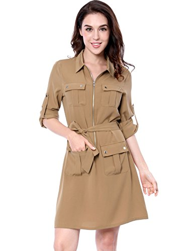 Allegra K Women's Multi-Pocket Above Knee Belted Shirt Dress M Beige ()
