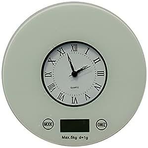 IFRESH Digital Kitchen Scale with Quartz Clock, White