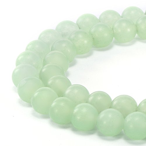 BRCbeads Gorgeous Natural Light Green Jade Gemstone Smooth MatteRound Loose Beads 6mm Approxi 15.5 inch 58pcs 1 Strand per Bag for Jewelry (Green Jade Gems)