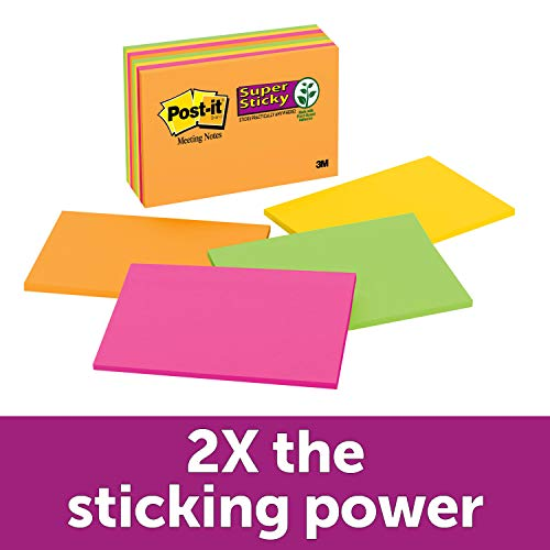 Post-it Super Sticky Notes, 2x Sticking Power, 6 in x 4 in, Rio de Janeiro Collection, 8 Pads/Pack (6445-SSP)