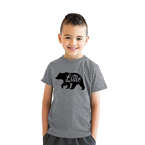 Crazy Dog T-Shirts Youth Little Bear for Children Adorable Funny Novelty Family T Shirt L Gray