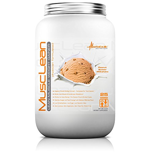 Metabolic Nutrition, Musclean, Whey Protein Meal Replacement, Weight Gainer, High Protein, Low Carb, High Fat, Keto Diet, Digestive Enzymes, 24 Vitamins and Minerals, Peanut Butter, 2.5 pound (25 ser) ()